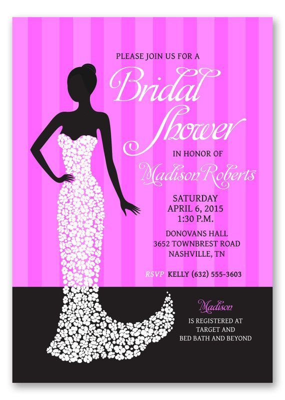 Printable Bridal Shower Invitation Design Pink and Black Wedding