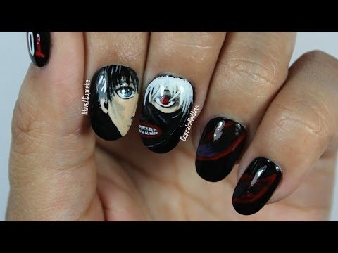 Tokyo Ghoul Anime Nails Nail Tutorials Manicure