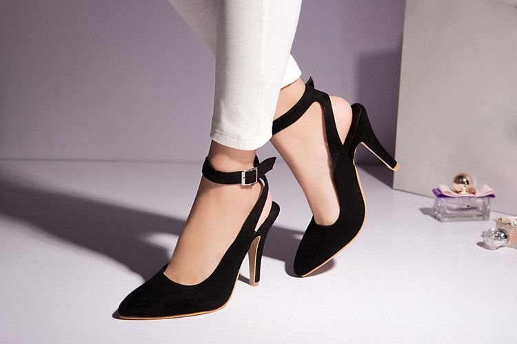 b99e137486a8 Fashion Women s Shoes Sexy Pointed Toe Stiletto Heel Ankle Strap Women Pumps  Plus Size Free Shipping