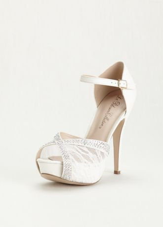 d25c636fe14ca7 Instantly add glamour to your look with these stunning lace and rhinestone  platform sandals! High heel platform sandals fashioned from lace feature ...