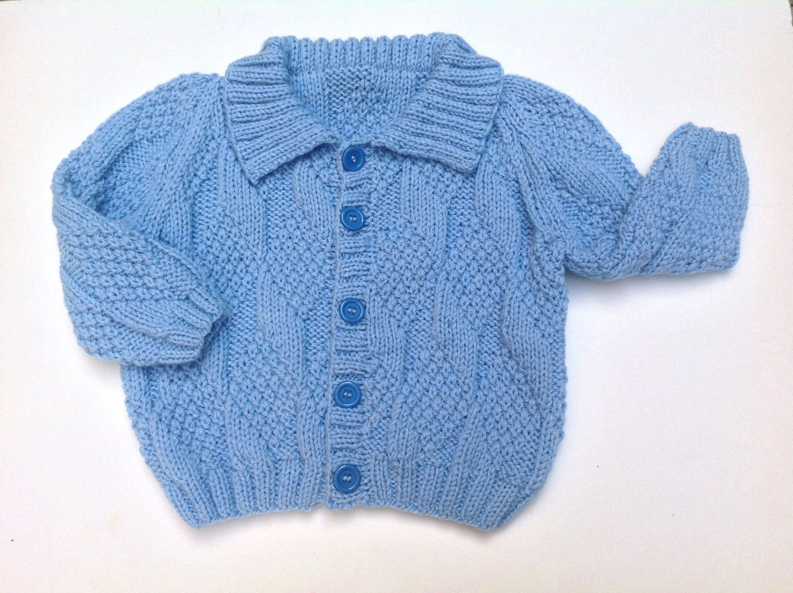 Knit baby cardigan, boy jacket, baby sweater, blue cardigan, baby ...
