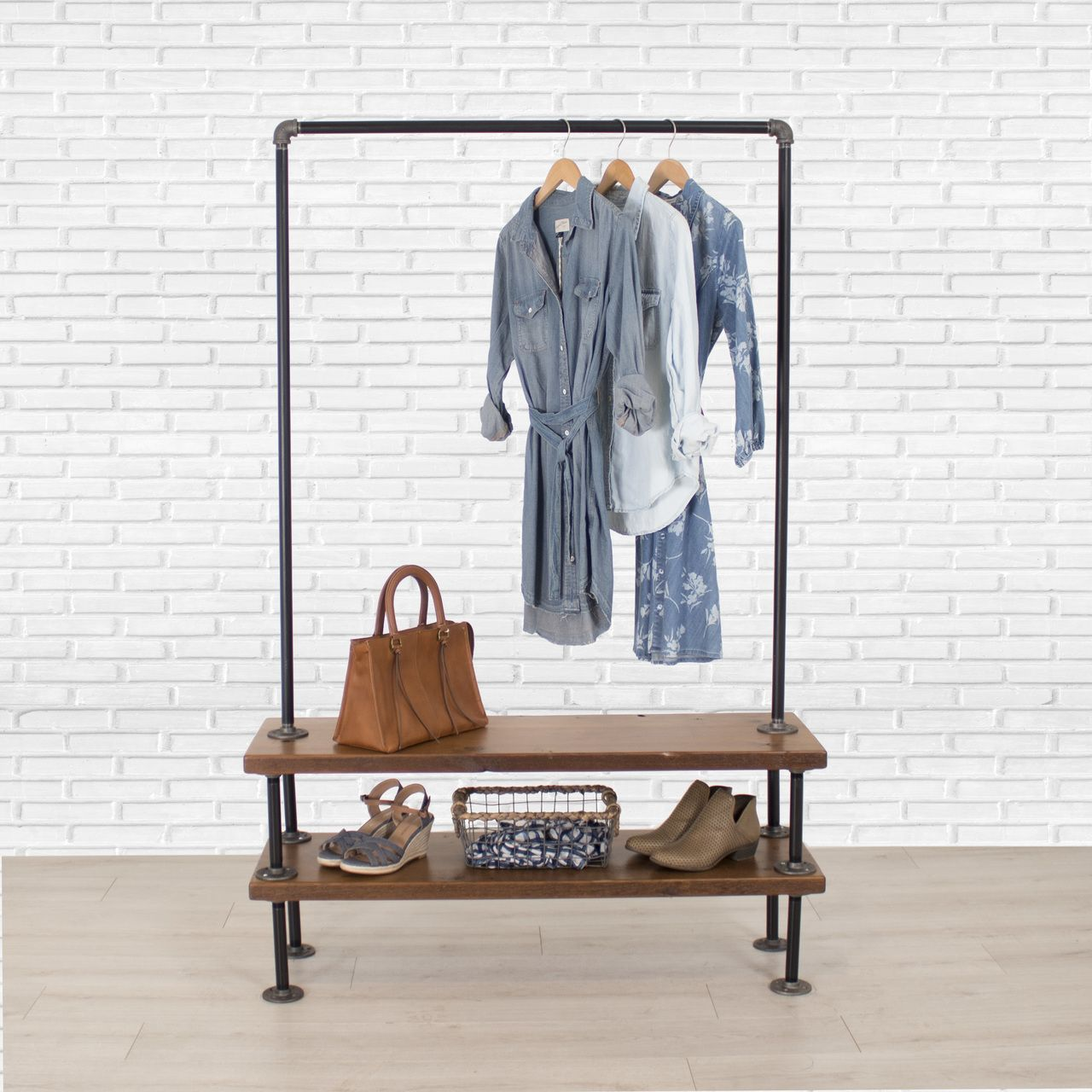 Industrial Pipe Clothing Rack with Cedar Wood Shelves   Double Shelf is part of Clothes Rack Boho - Premium wardrobe storage and display without the premium price tag  Shop William Roberts Vintage for your double shelf industrial pipe clothing racks