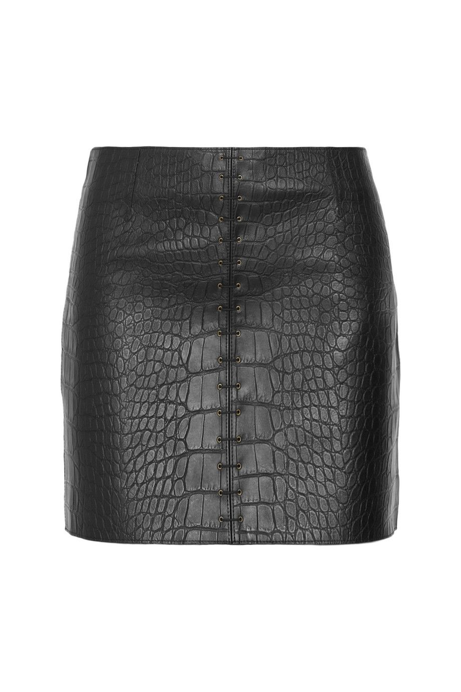 Croc Leather Skirt