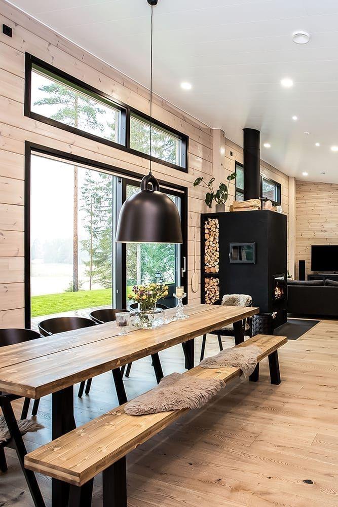 Inspiration For A Modern Log House Honka In 2020 Log Home Interiors Modern Cabin Interior Log Home Interior