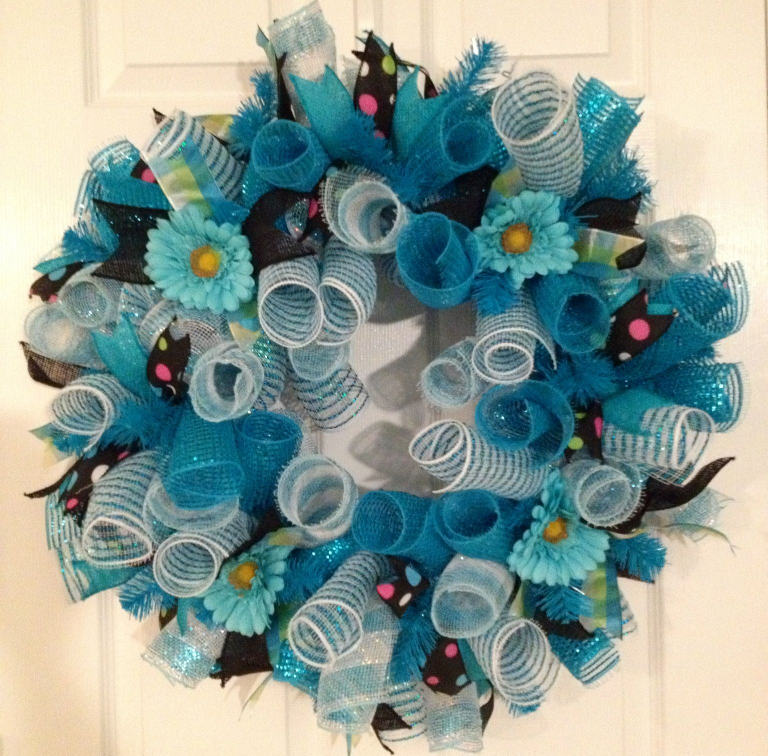 Turquoise curly deco mesh wreath