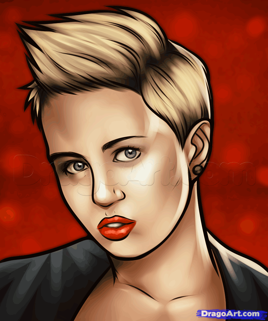 how to draw miley cyrus, miley cyrus