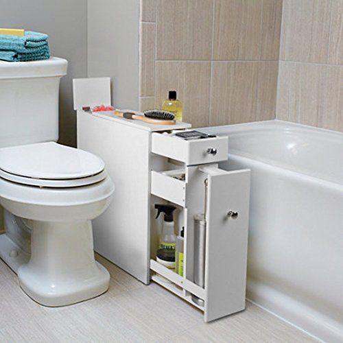 2 Ft Tall White Slim Standing Bath Cabinet Organizer Modern Style Bath Cabinet Storage Fully Assembled Easy Clean Bathroom Furnitur Mobler Inredning Badrum
