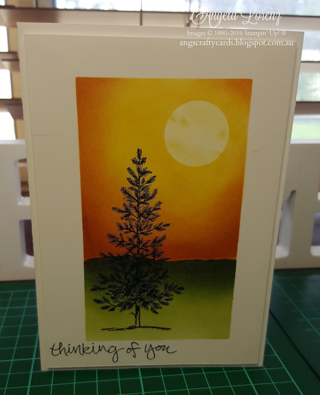 Angela Lorenz – Crazy Crafters Blog Hop with Guest Stamper Paula Dobson. Click on picture to see more creations by Angela. Stampin Up. #stampinup #angelalorenz #lovelyasatree  #shelteringtree  #2016holidaycatalogue  #papercraft #handmadecards #handmade #stampinupdemonstrator #stampinupdemonstratoraustralia #handmadecardsarethebest  #angscraftycards #stampinupdemo  #crazycraftersbloghop #crazycraftersbh  #bloghop #masking #sponging