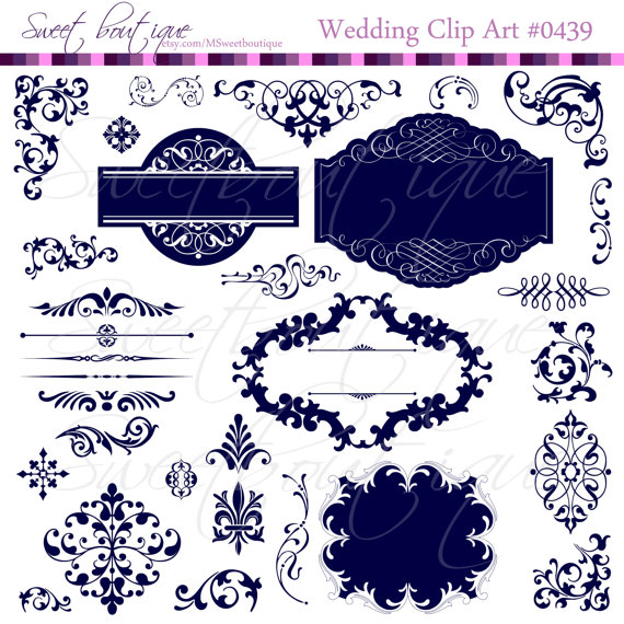 NAVY BLUE Wedding Digital Frames clip art by MSweetboutique, $599 - free invitation clipart
