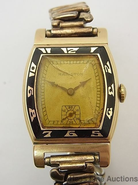 Rare Hamilton Coronado 14k Gold Vintage Art Deco Enamel Moving Lugs Mens Watch Vintage Art Deco Art Deco Watch Antique Watches