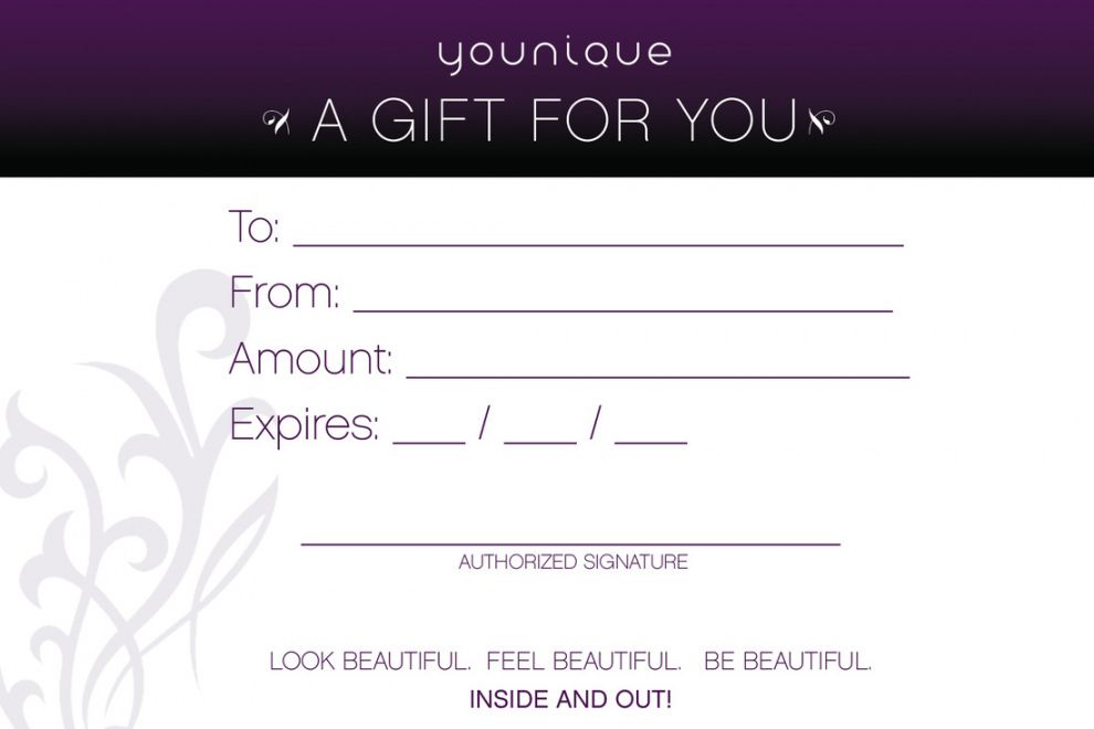 Browse Our Image Of Younique Gift Certificate Template Gift Certificate Template Printable Gift Certificate Gift Card Template