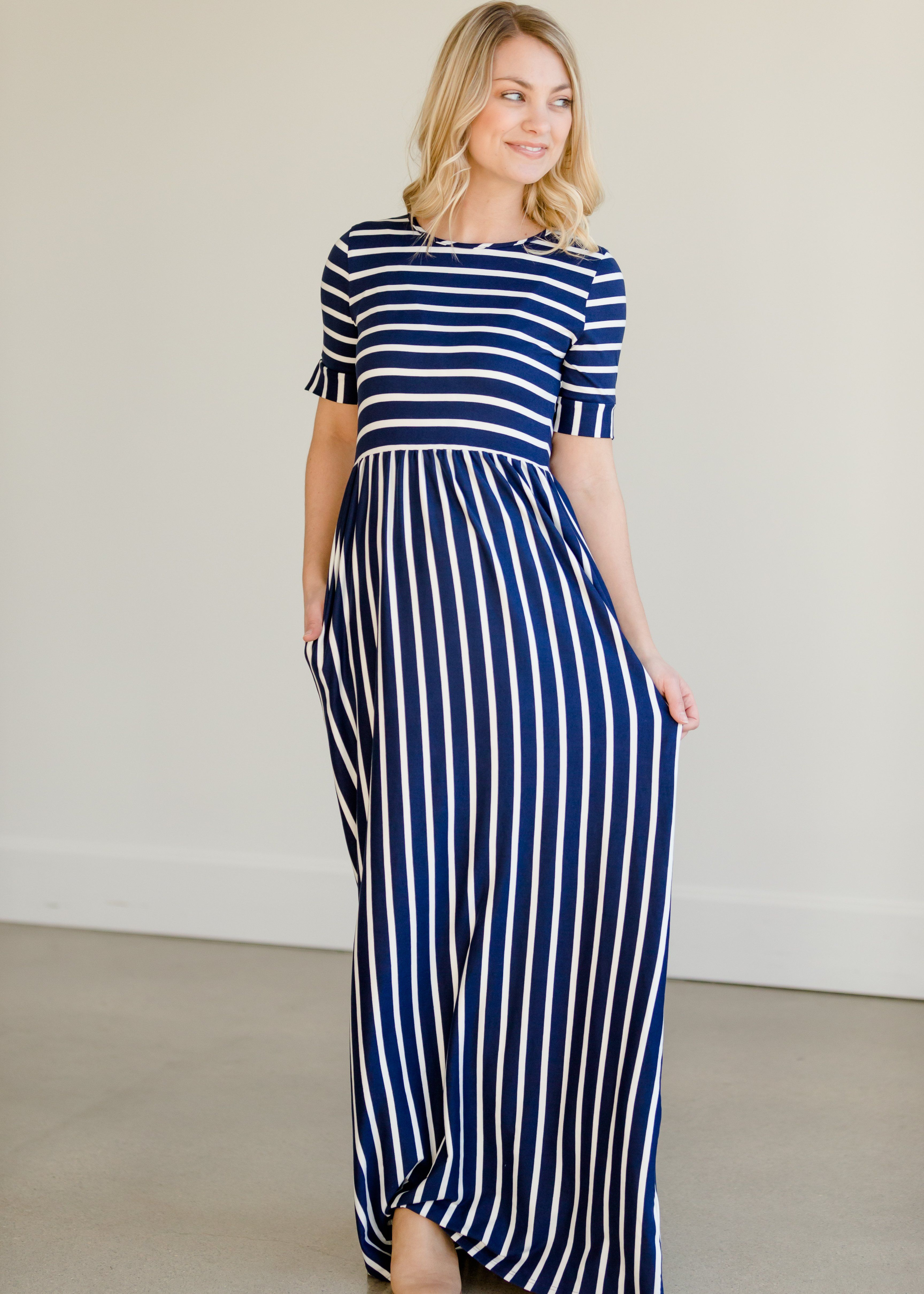 Saylor Striped Maxi Dress Maxi Dress Striped Maxi Dresses Modest Maxi Dress [ 4838 x 3456 Pixel ]