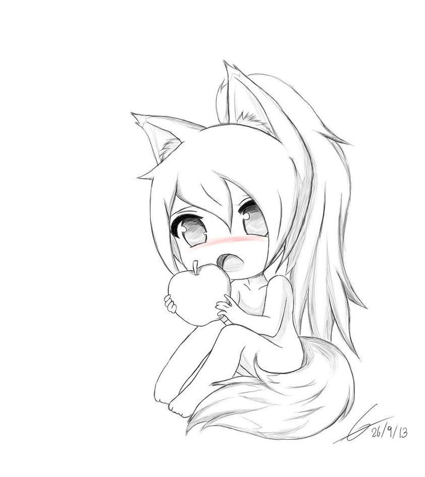 Cool Fox Chibi Anime Girl Drawing