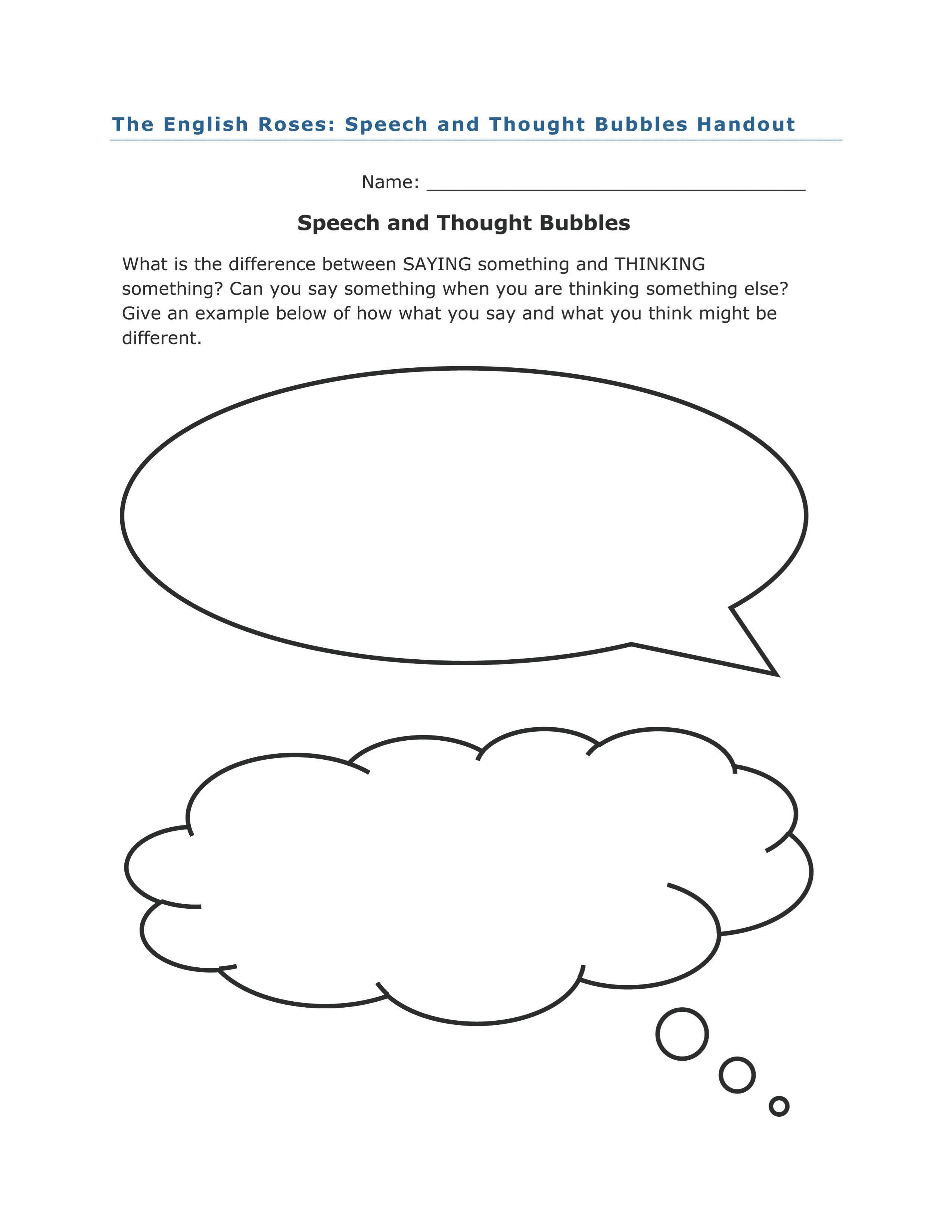 Speech And Thought Bubble Activity For The English Roses By