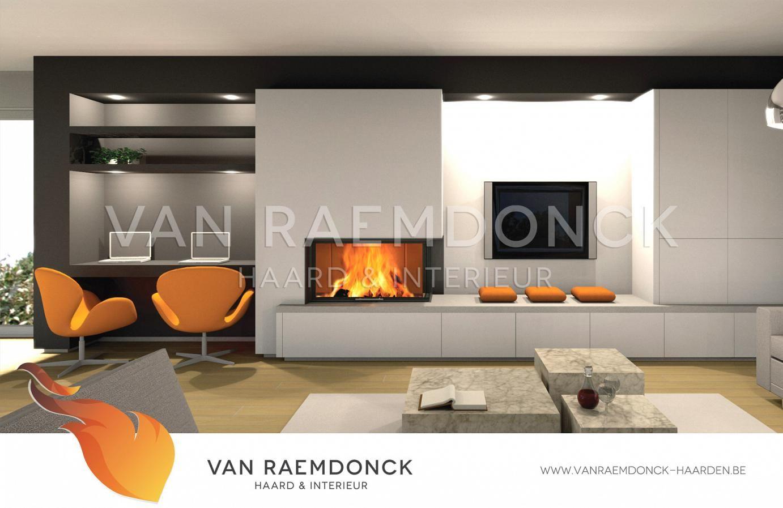 Houthaard met TV-meubel - Van Raemdonck - Haard & Interieur | Living ...