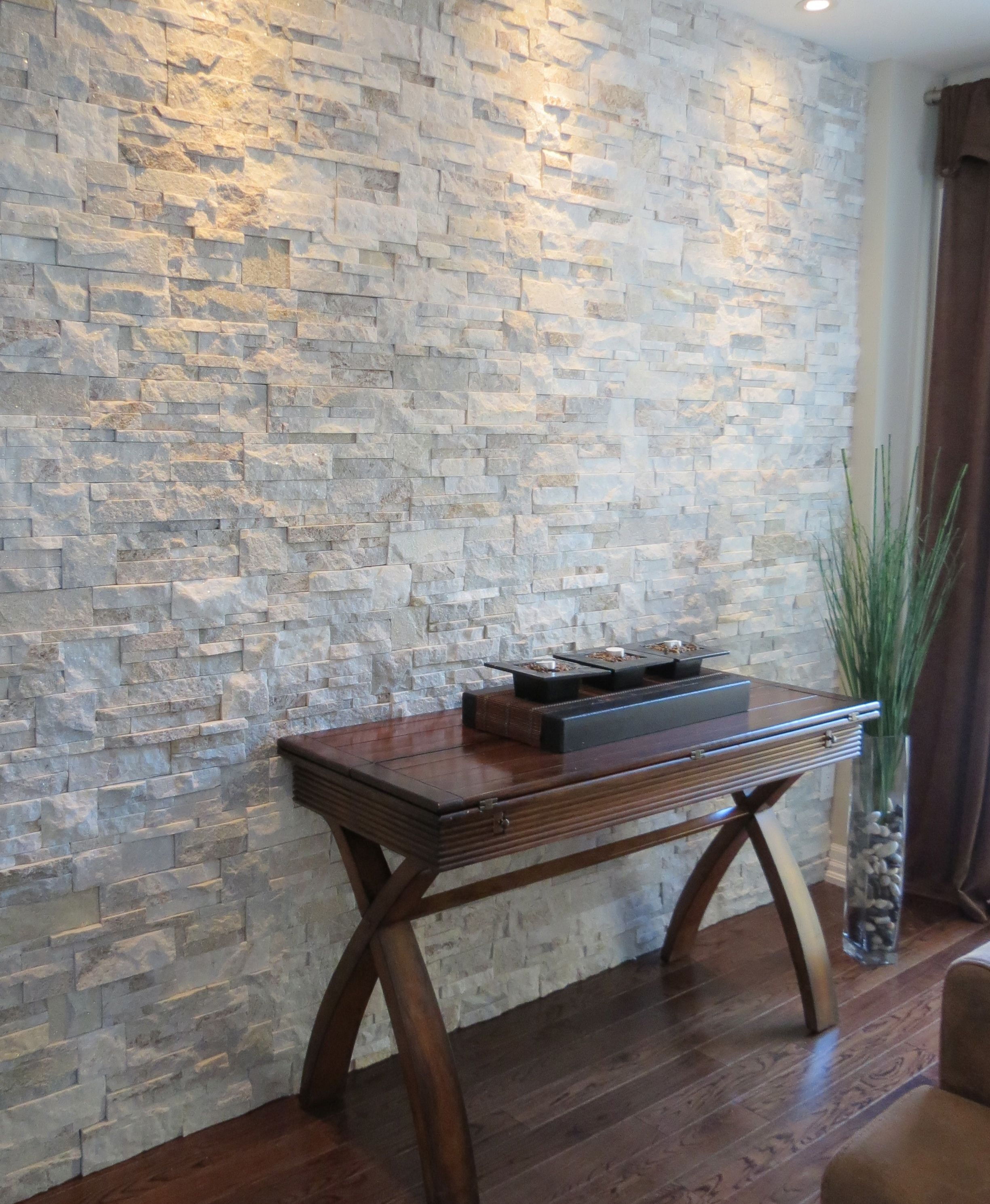 Silk Stone Wall Accent: Quartzite Ledge Stone In Oyster Shell On An Interior