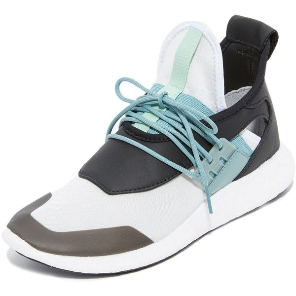 Y-3 Y-3 Elle Run Boost Sneakers (£150) ❤ liked on Polyvore featuring shoes, sneakers, leather sneakers, colorful platform sneakers, wide width platform shoes, wide width sneakers and y3 shoes
