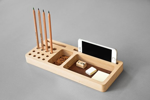 Leather Desk Organizer Wood Industrial Desk Accessories Tray Pencil Holder Card And Phone Holder Ofis Podarunok Organajzeri