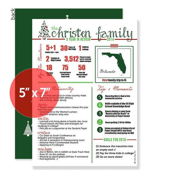 25 Cards Year in Review Family Christmas Card Year in Review - holiday newsletter template