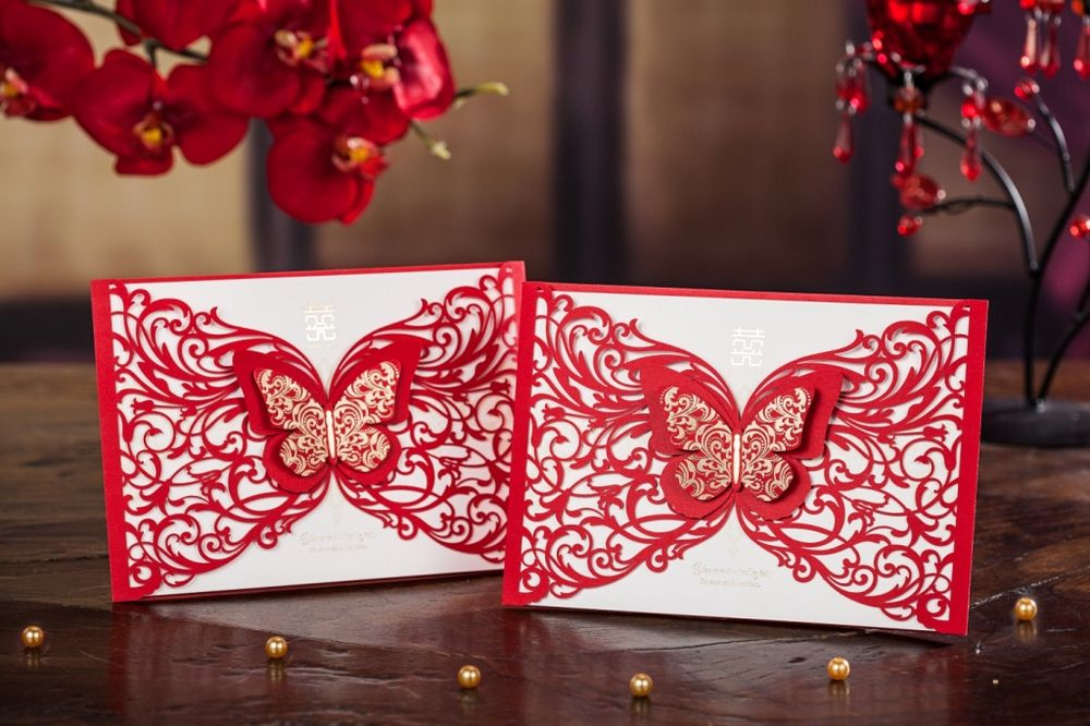 Red butterfly design laser cut wedding invitation card cw5056 view red butterfly design laser cut wedding invitation card cw5056 view red laser cut cards stopboris Image collections