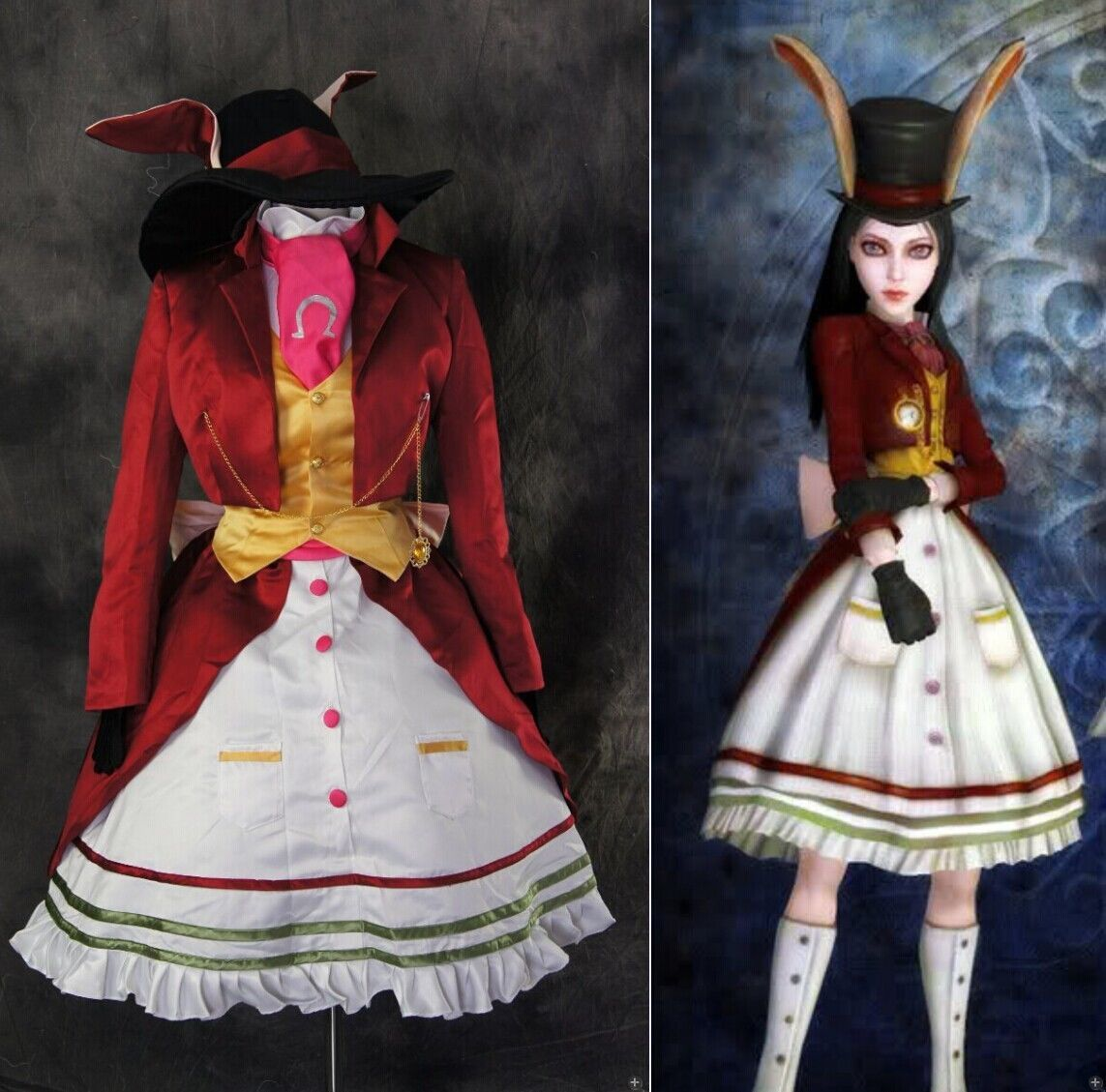 details zu h 3172 alice madness returns rabbit kleid dress cosplay kost m costume n ma alice. Black Bedroom Furniture Sets. Home Design Ideas