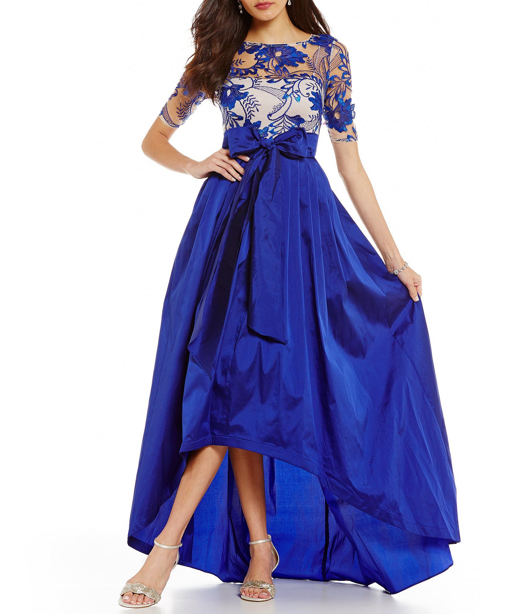 Adrianna Papell Lace Bodice HiLow Ball Gown #Dillards   Mother of ...