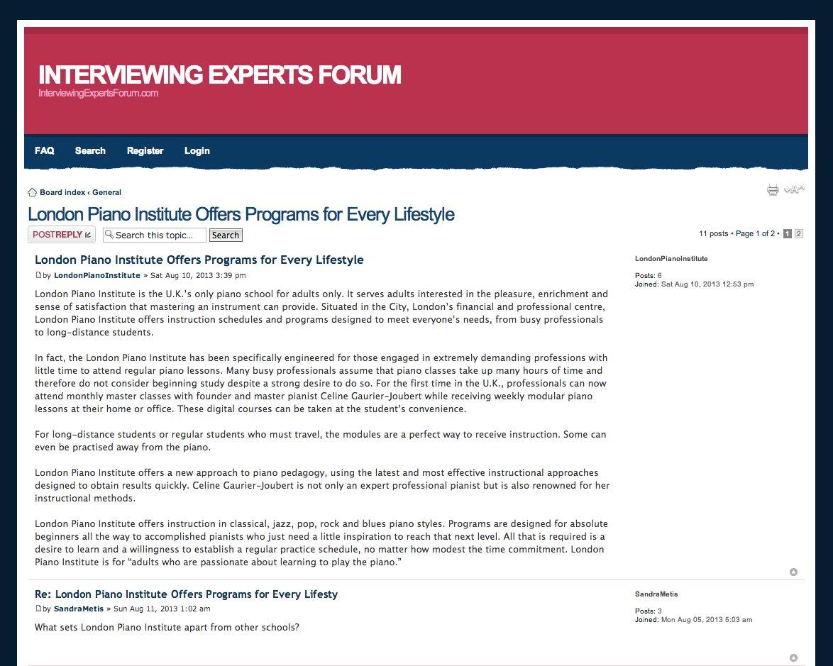 London Piano Institiute - InterviewingExpertsForum