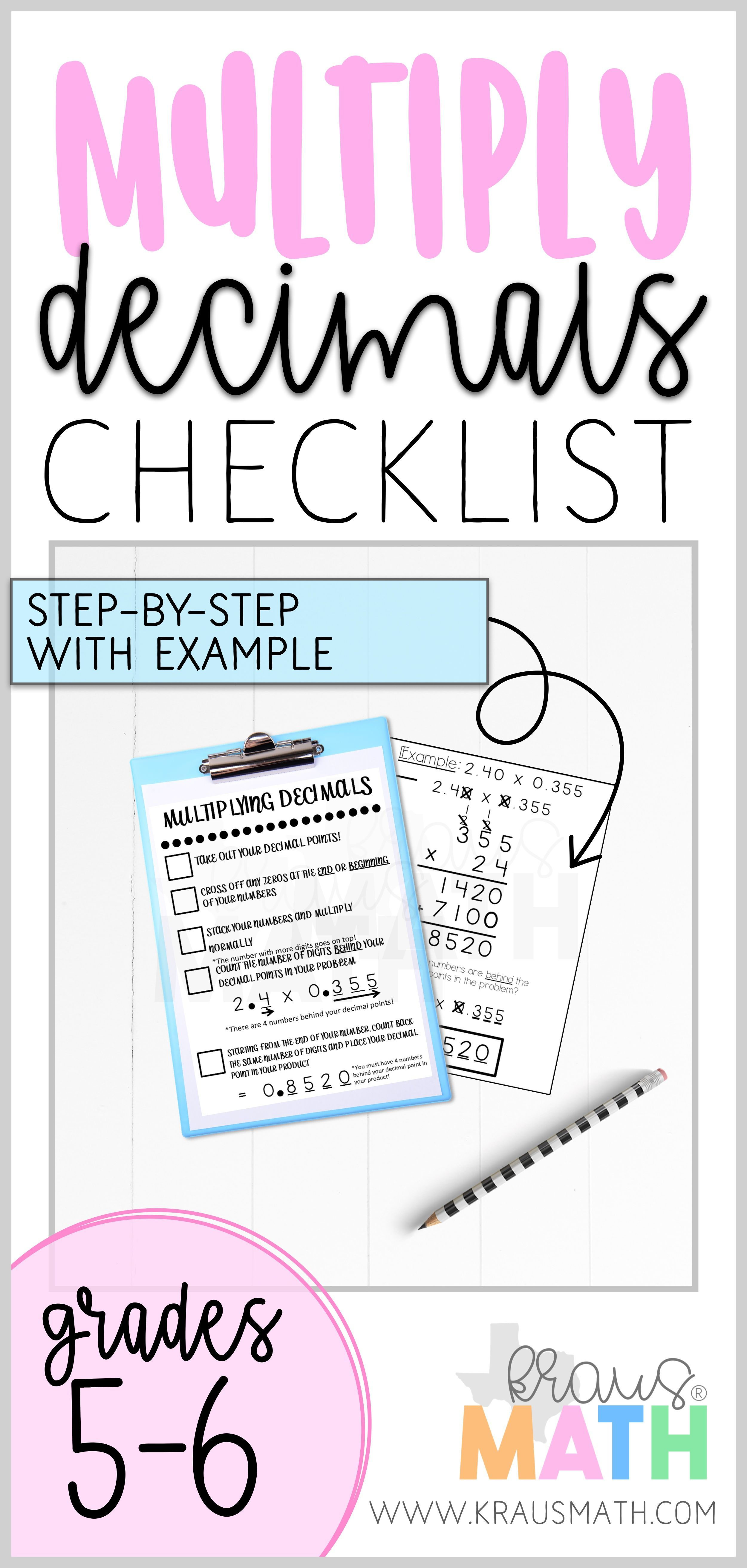 Multiplying Decimals Checklist Teks 5 3i
