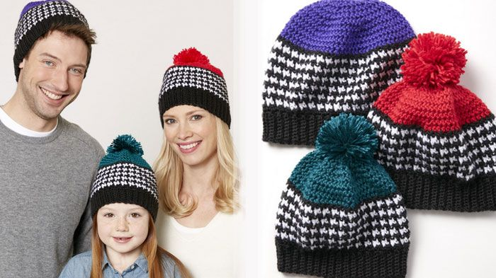 Houndstooth Hats A pattern for most of the family featuring the Houndstooth Stitch. The pattern starts in the kid sizes