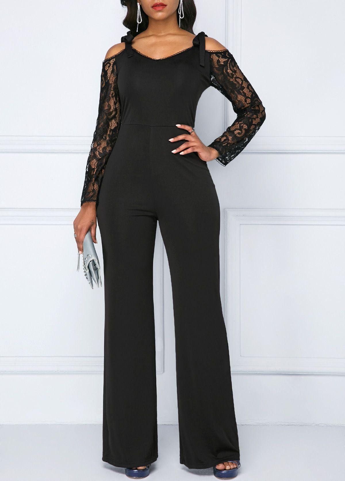 Cold Shoulder Black Crochet Sleeve Jumpsuit   liligal.com ...