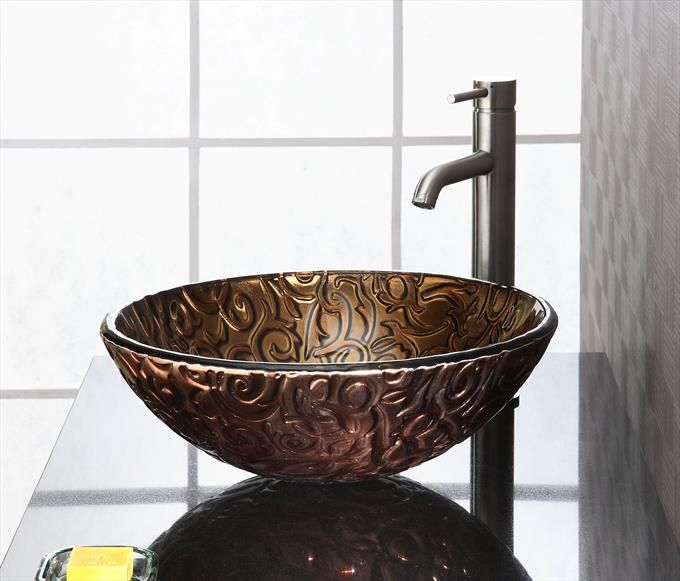 "Reflex 16-1/2"" Stone Vessel Sink In Metallic Brown Copper Vine - Homeclick Community"