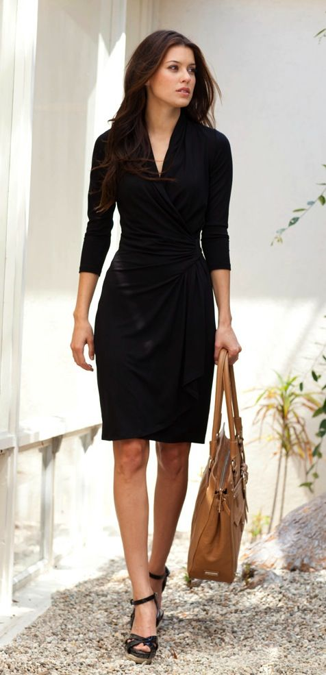Karen Kane Cascade Wrap Dress-Black-XS With a sleek b1e450d124ad