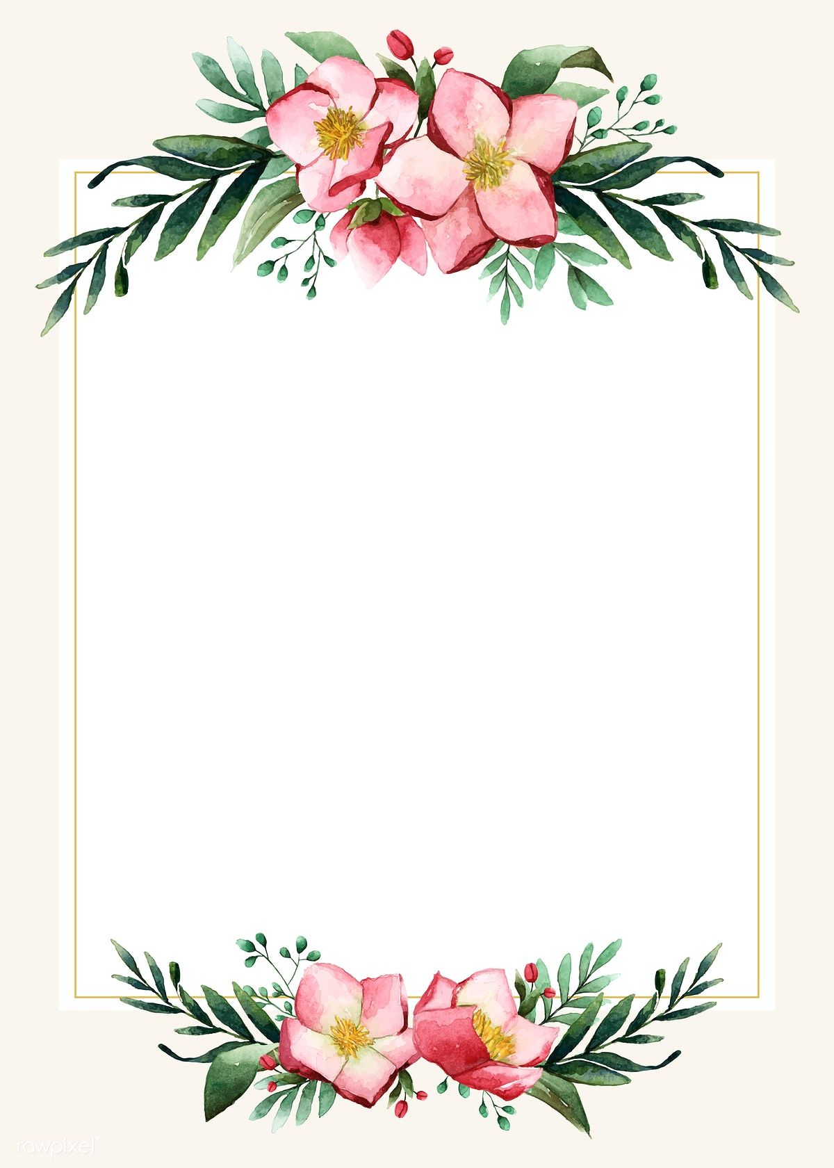 Flowers invitation card template vector premium image by