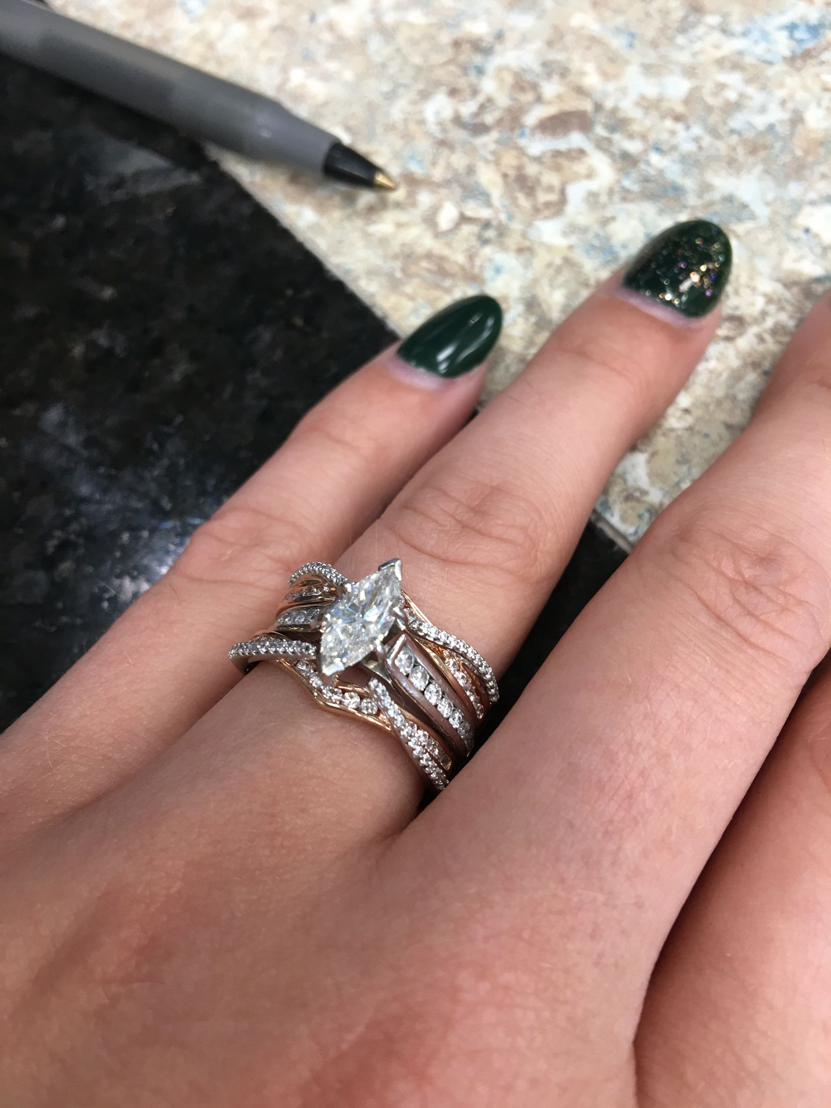 My ring! Rose Gold Guard Marquise Diamond Channel
