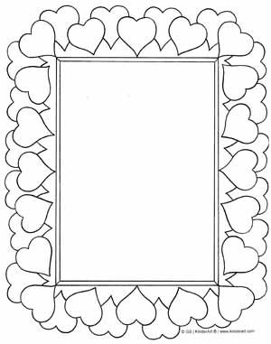 Heart Frame Coloring Valentines Day Coloring Page Printable