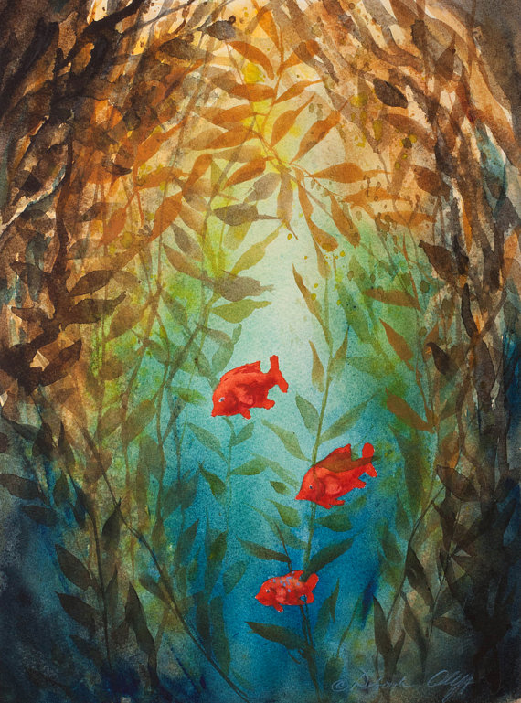 Kelp Forest Watercolor Print Garibaldi Fish Underwater Sea