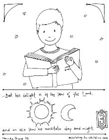 delight in the law of the lord psalm 12 coloring page - Psalm 8 Coloring Page