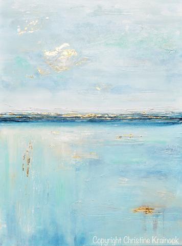 Original Art Blue Abstract Painting Seascape Ocean Aqua Blue Gold