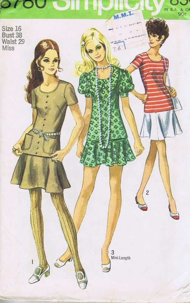 VINTAGE SEWING PATTERN Two PC Dress 8780 SIMPLICITY SZ 16 BUST 36 ...