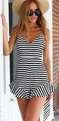 13330542d54 Ahoy Sailor Black White Horizontal Stripe Spaghetti Strap V Neck Ruffle  Trim Short  Romper