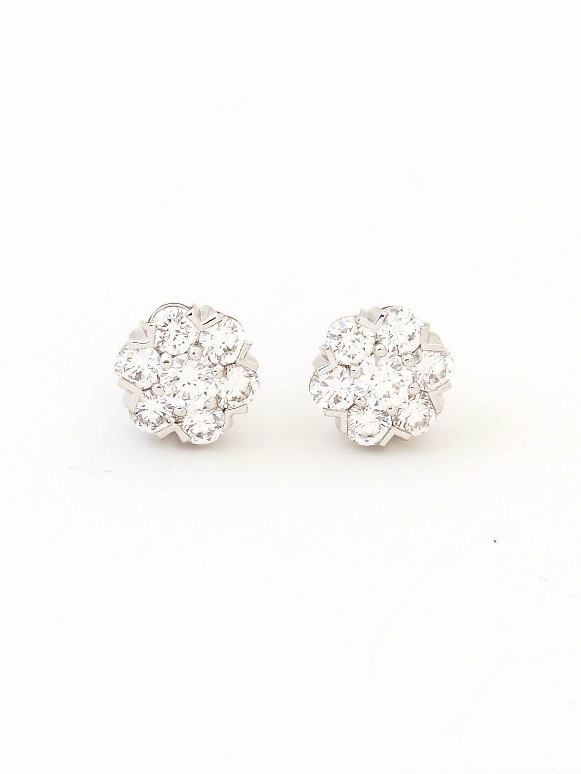 Van Cleef & Arpels 18k White Gold Fleurette Diamond Stud Earrings At London  Jewelers!