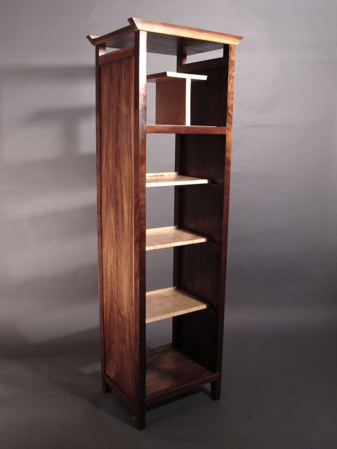 tall narrow bookcase, open midcentury modern bookshelves, handmade ...