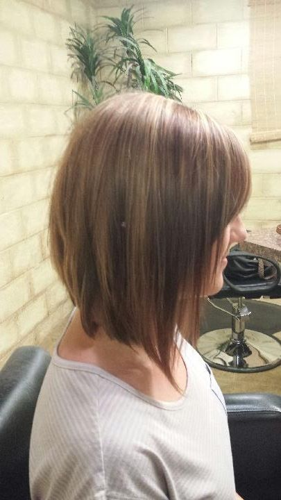 Long inverted bob. Brown with caramel highlights. Shoulder ...