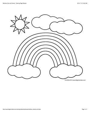 coloring page with a rainbow, sun, and clouds to color | spring ... - Coloring Page Rainbow Clouds