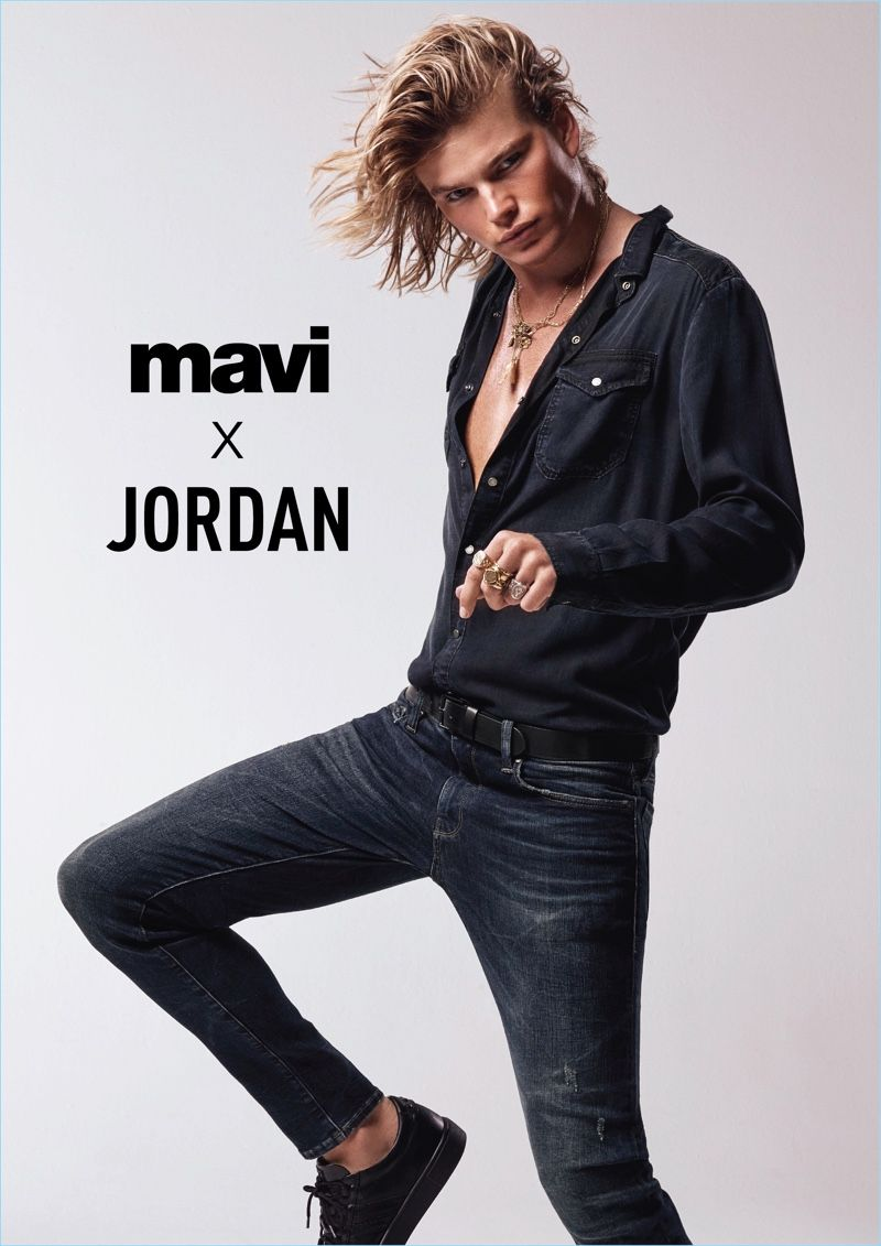 3e28bd09820607 Jordan Barrett Rocks Denim for Mavi Spring '18 Campaign | Jordan ...