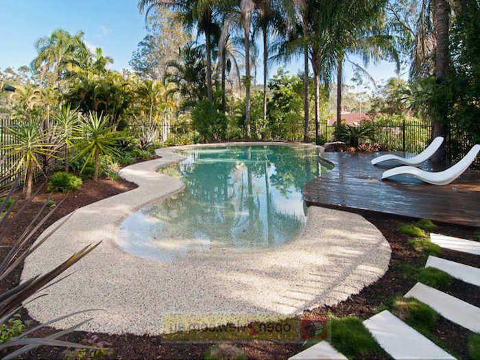 gartengestaltung ideen, hintergarten mit schwimmbad mit kleinen - gartengestaltung mit kleinem pool