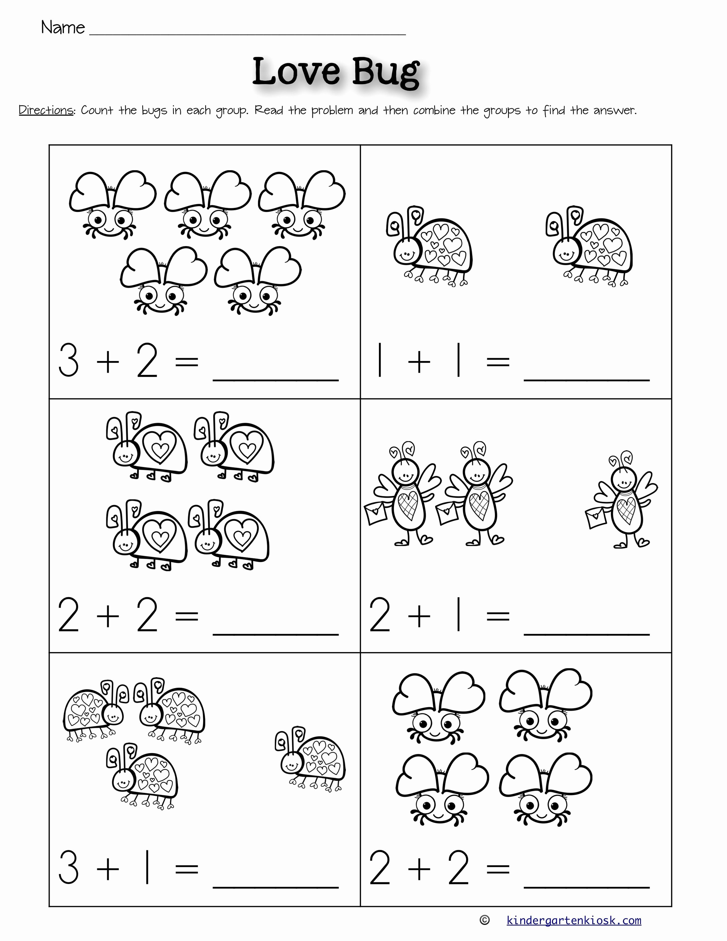 Kindergarten Math Worksheets Addition In