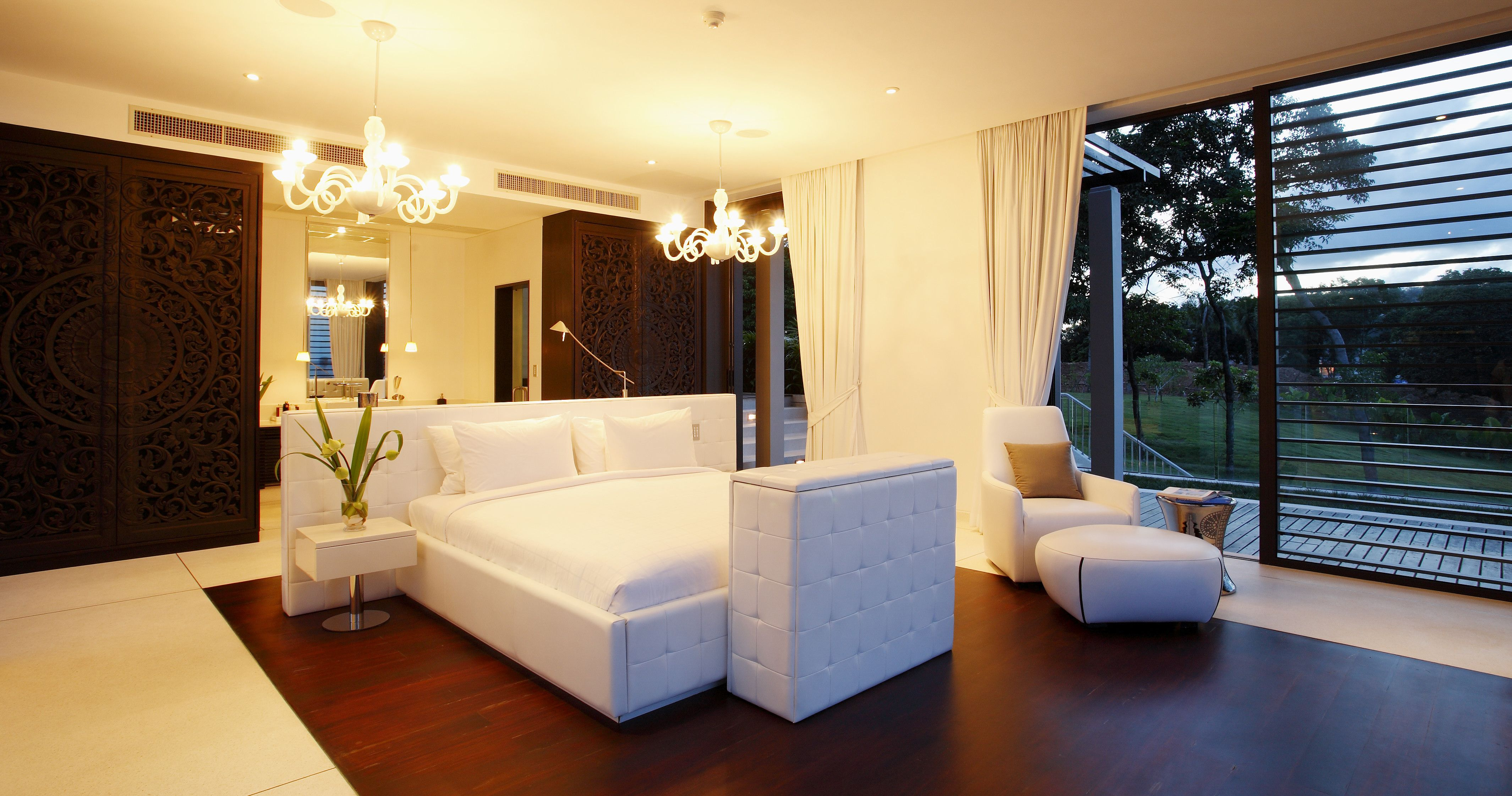 A bedroom with contemporary style. There are two
