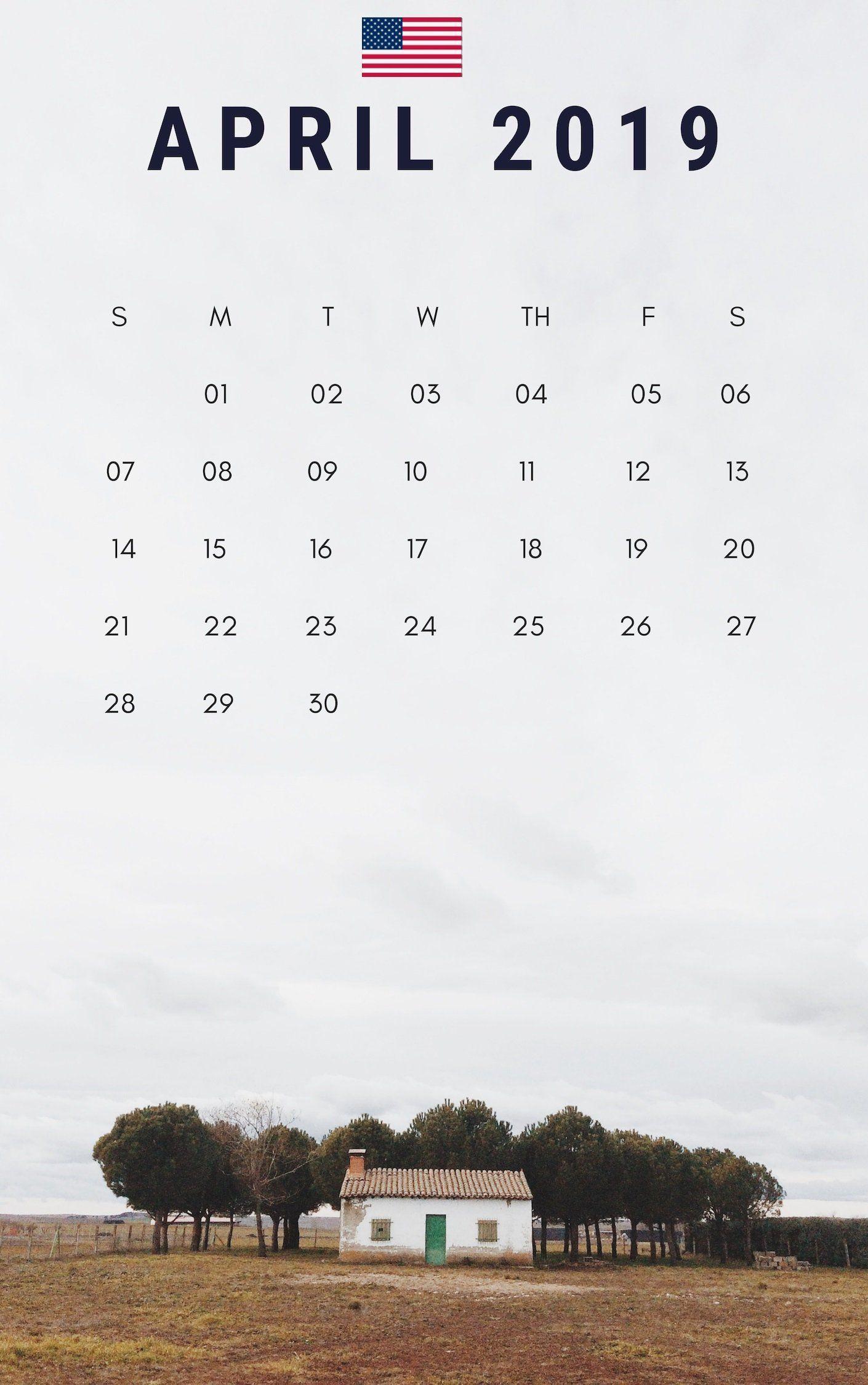 April Us Calendar Printable