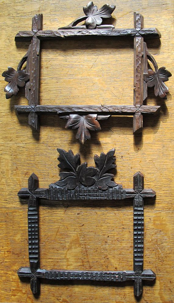2 Black Forest Rustic Antique Wonderfully Hand Carved German Solid ...